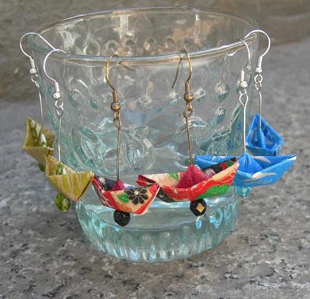 orecchini origami barchette