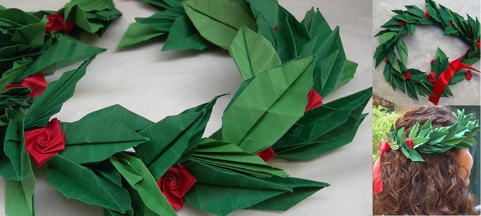 corona d'alloro in origami