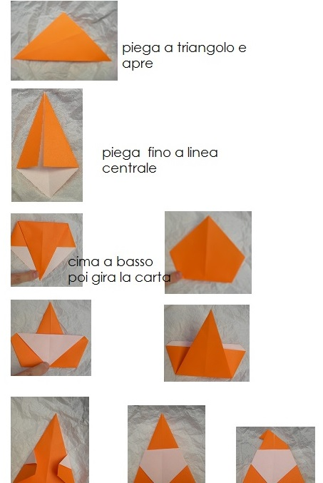 origami babbo natale istruzione